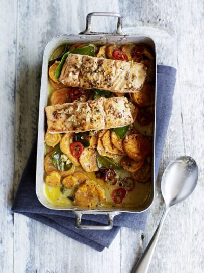 Asian Salmon & Sweet Potato Bake